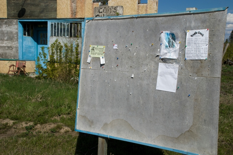 water-stained bulletin board