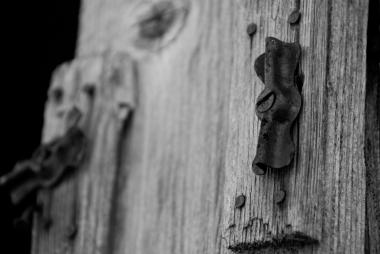 close-up on a metal hinge
