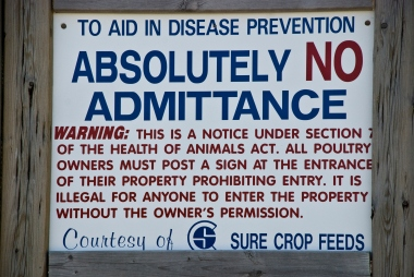 close up of sign - to aid in disease prevention absolutely no admittance