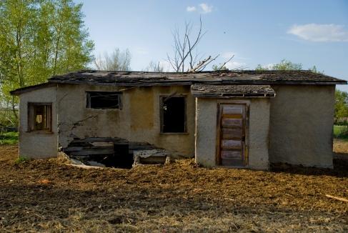 crumbling abandoned house