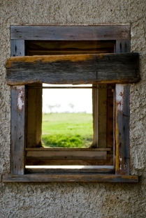 window through an old building