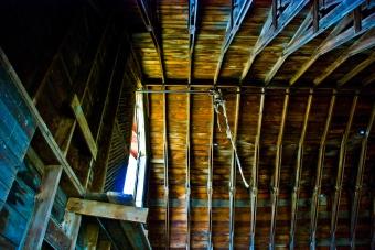 roof of abandoned barn