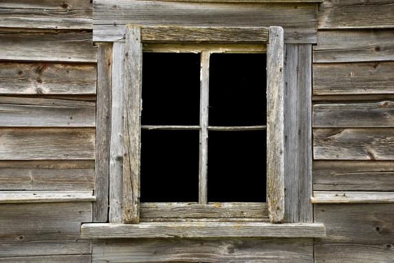 abandoned barn window