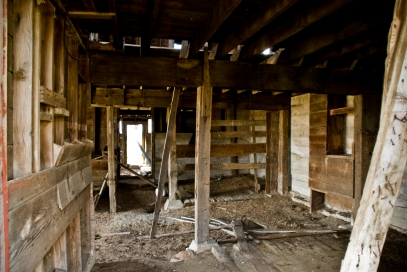 interior of abandoned barn