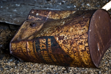 rusted and crushed old can