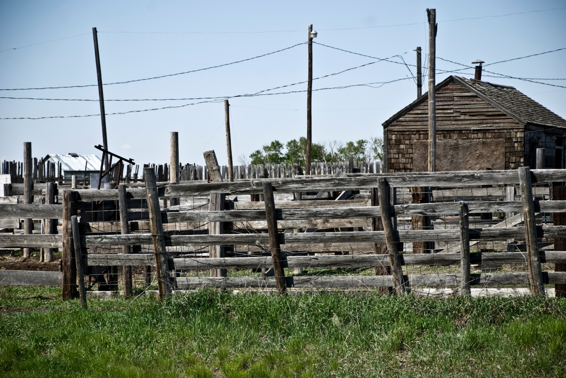 old wooden fences and building
