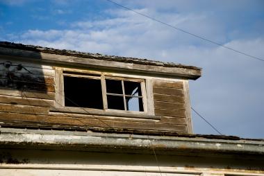 broken window, blue sky