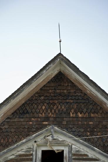 spike on abandoned house