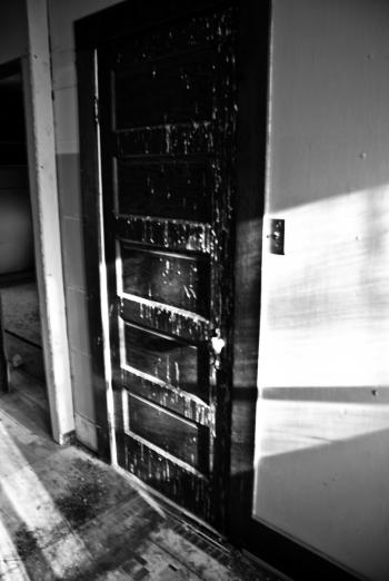 door covered in bird crap