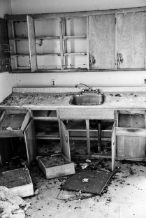 crumbling kitchen, abandoned house