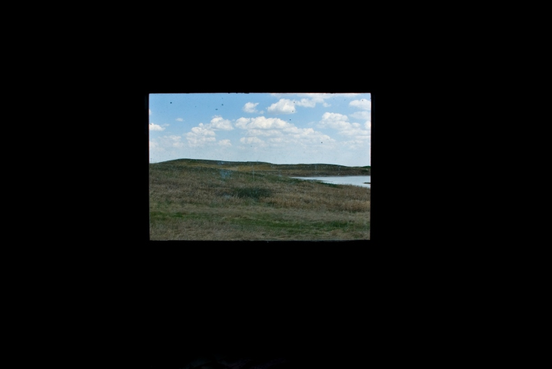 field and slough through window in abandoned house