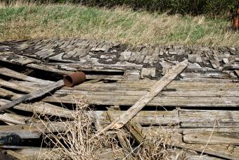 fallen wooden roof
