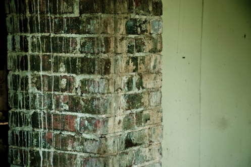 brick wall covered in bird crap