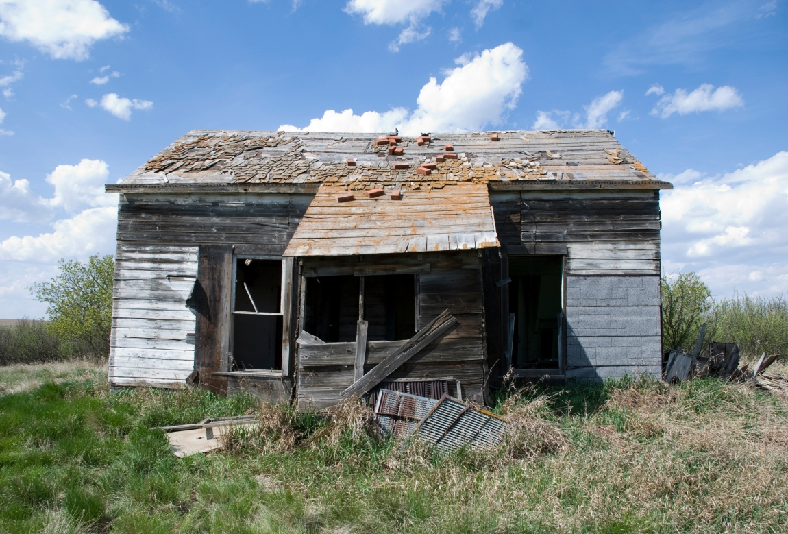 broken abandoned wooden house