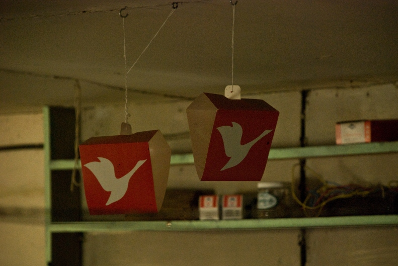 flying geese logos hanging from ceiling