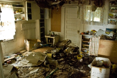 ceiling collapse in old kitchen of abandoned building