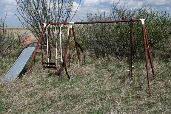 rusted home swingset