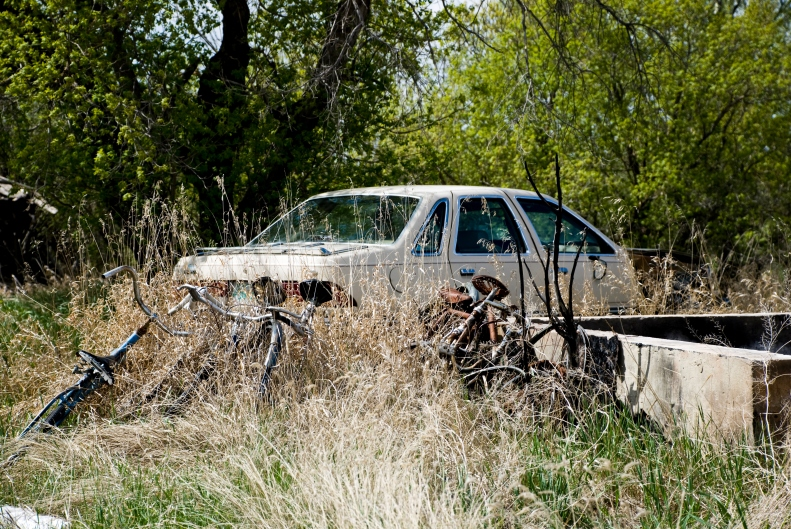 old bicycles and car