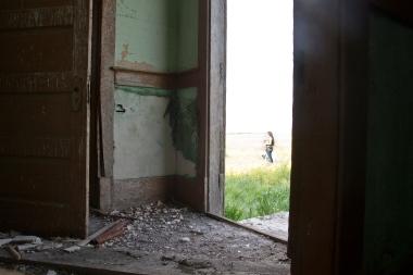 crumbling floor, out the door