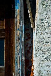 old wood, old concrete, peeling paint