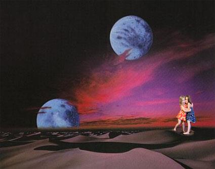 two children in sci-fi scenery