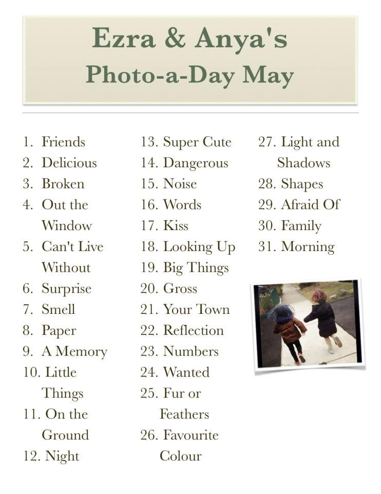 List for Photo-a-day May